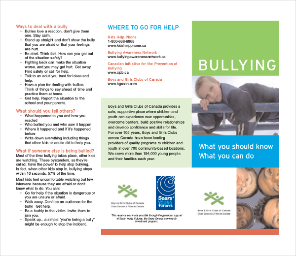 Bullying Brochure Template