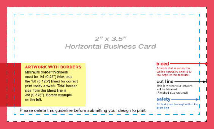 Business Card Layout Template Horizantal 2X35