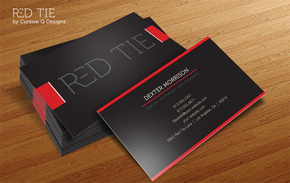 Business Card Template Red Tie