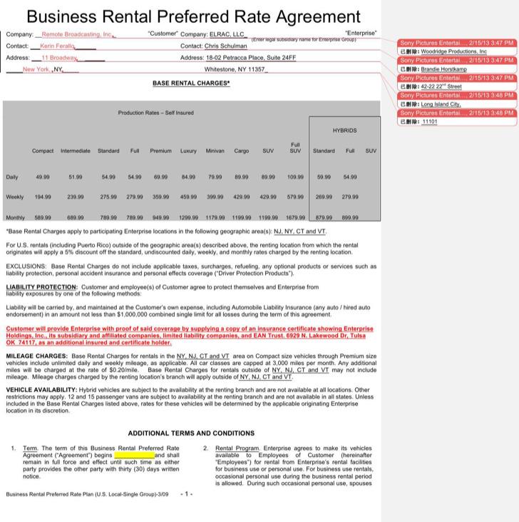 Business Enterprise Rental Agreement