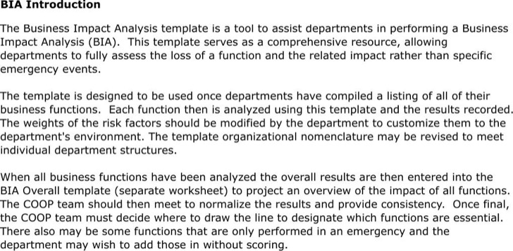 Business Impact Analysis Workbook Template