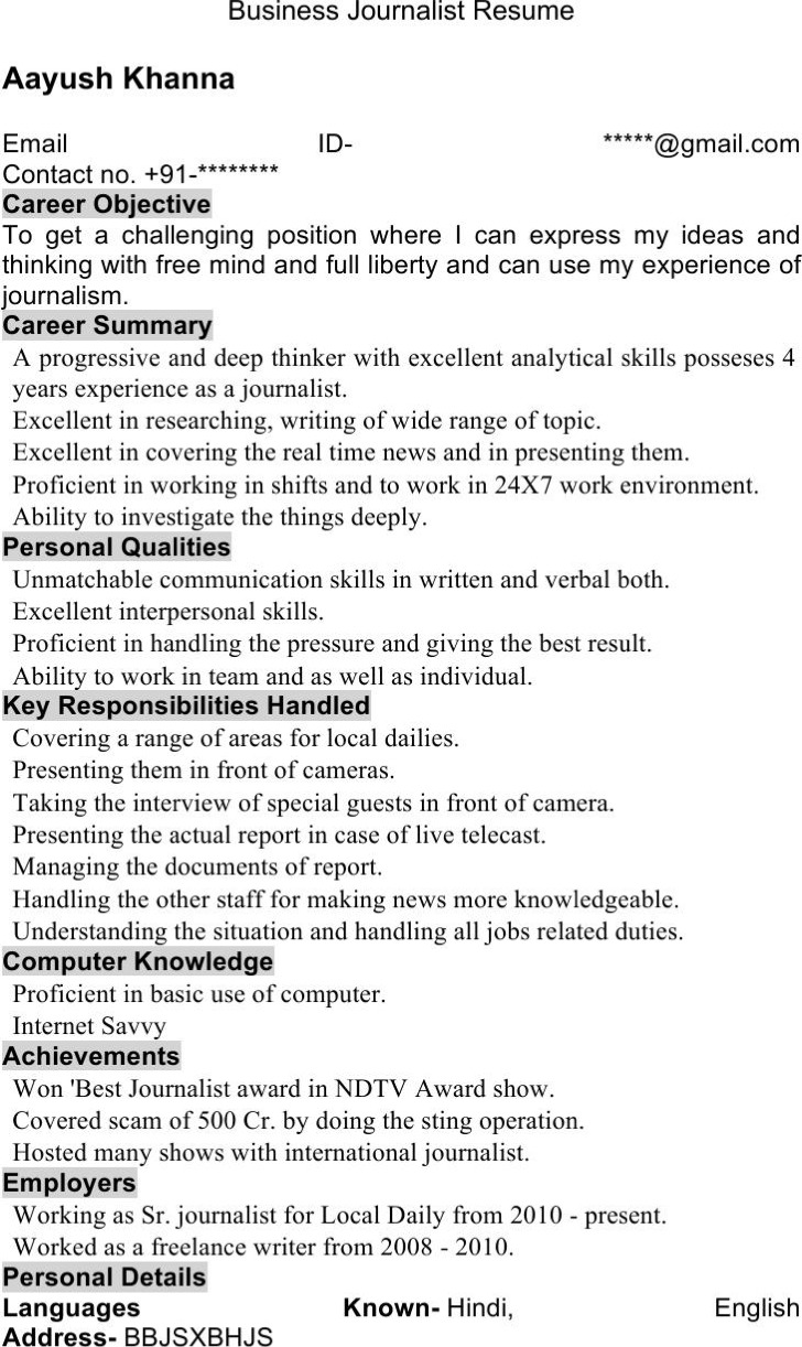 Business Journalist Resume