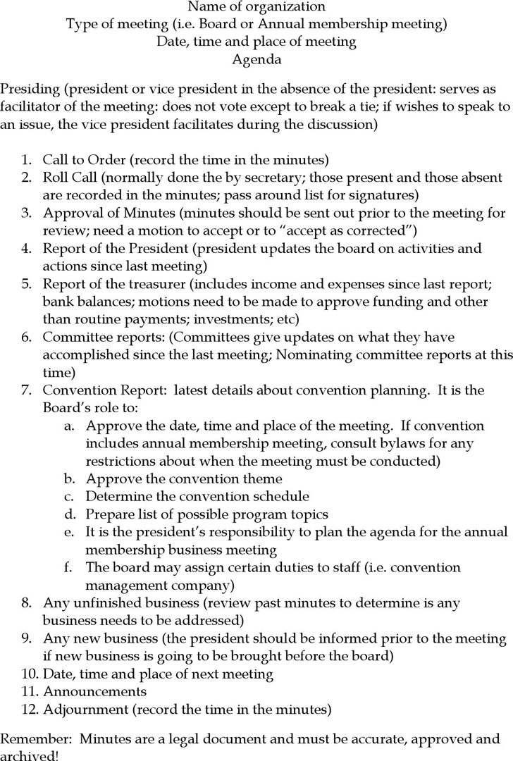 Business Meeting Outline