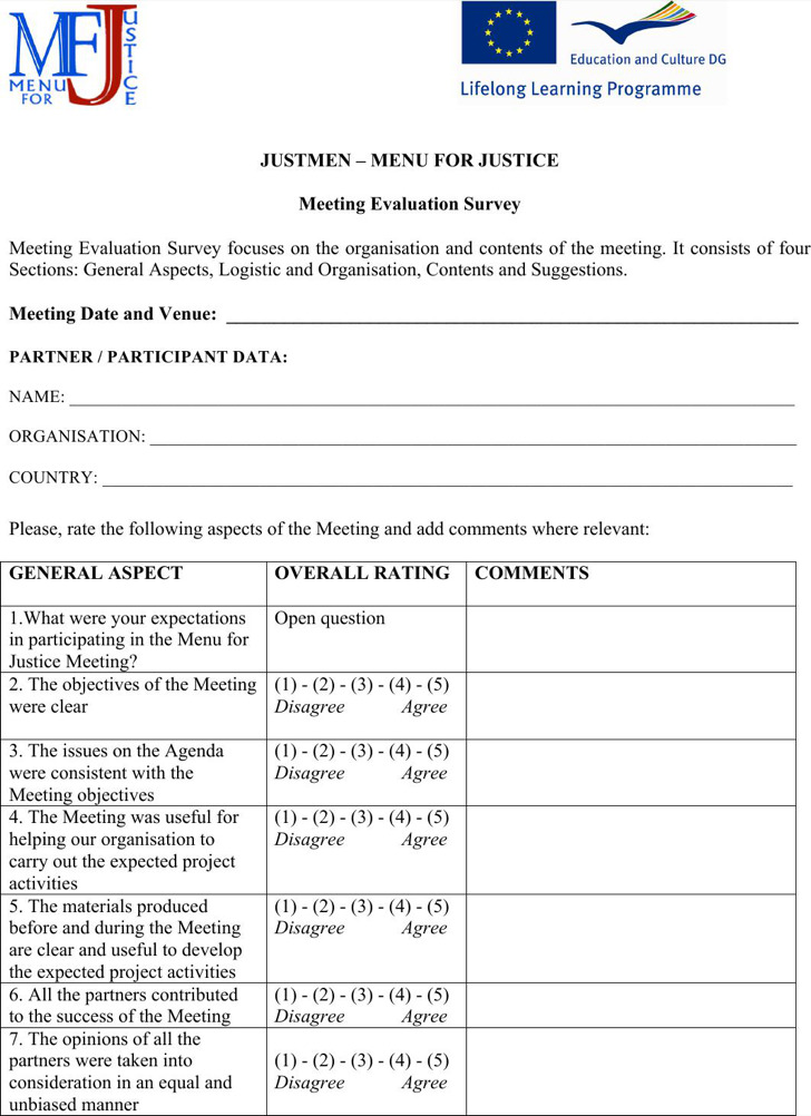 Business Meeting Survey Form Template