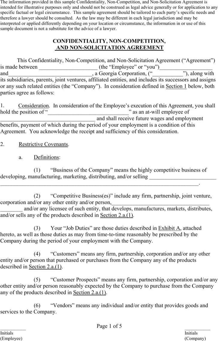 9 Sample Employee Non Compete Agreements Free Download