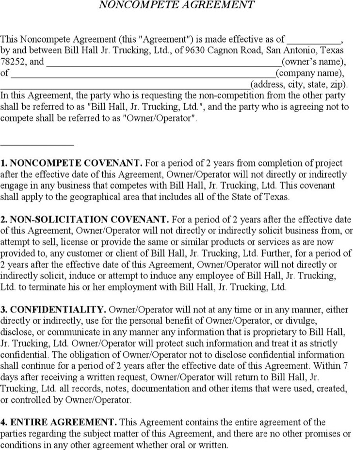 Business Non Compete Agreement Form