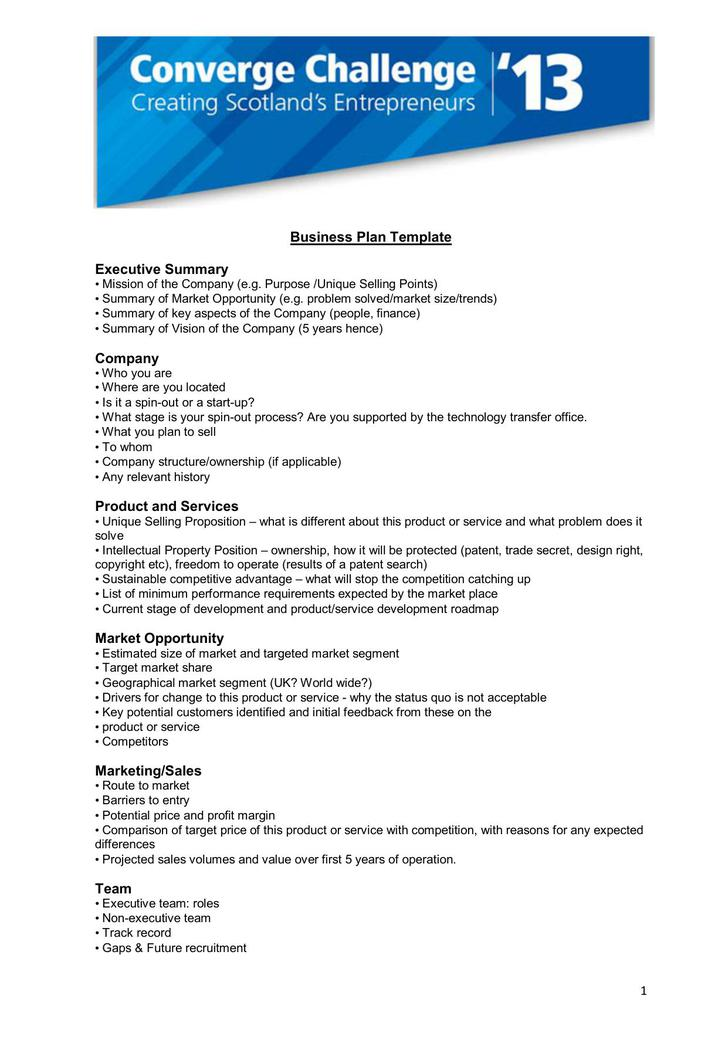 Business Plan Executive Summary Company Template PDF