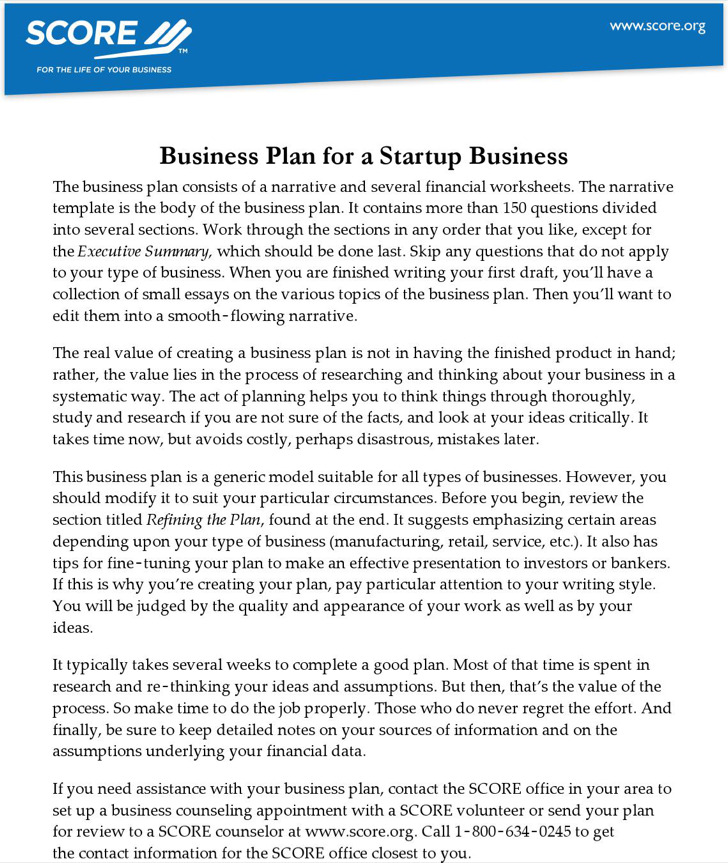 Business Plan For A Startup Business 0