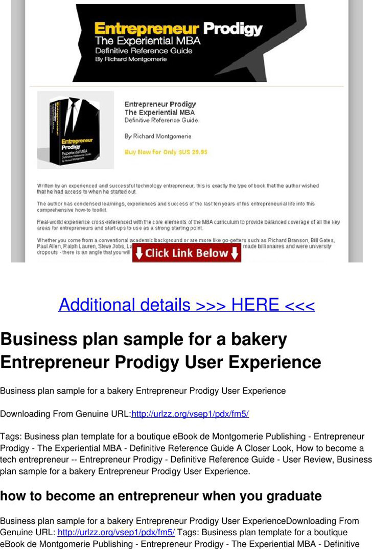 Business Plan Sample for a Bakery
