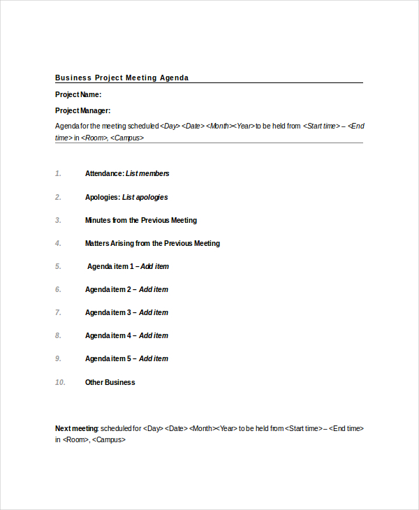 Business Project Meeting Agenda Template