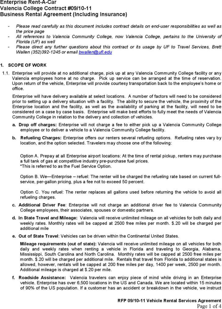 Business Rental Agreement Of Enterprise