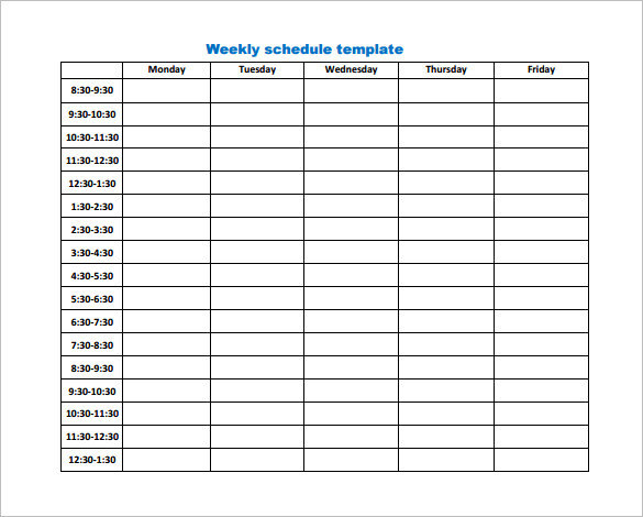 Business Weekly Work Schedule Template PDF Download