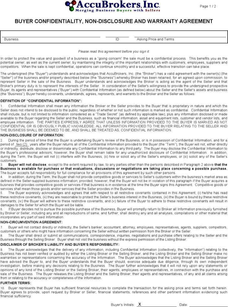 Buyers' Vendor Confidentiality Agreement Sample