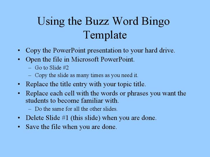 Buzz Word Bingo Game Template