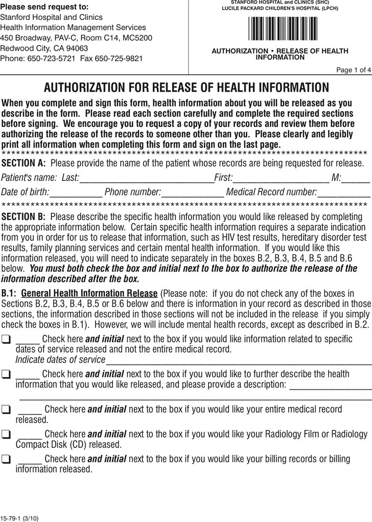 4 California Medical Records Release Form Free Download