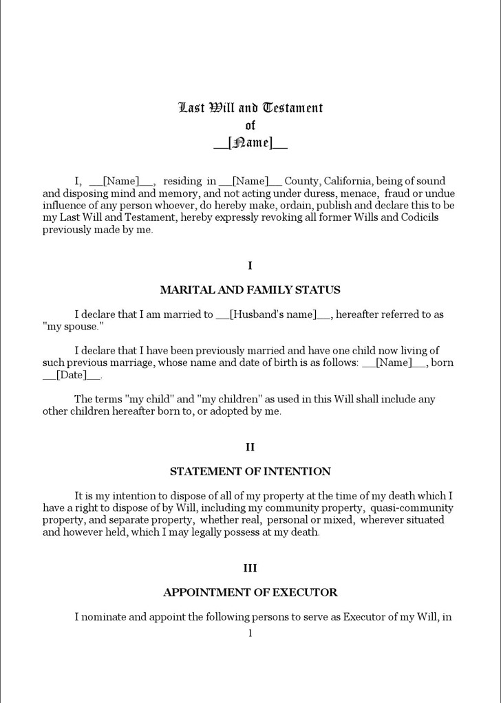 Download California Last Will and Testament Form for Free ...