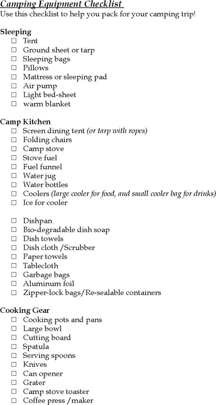 Camping Equipment Checklist
