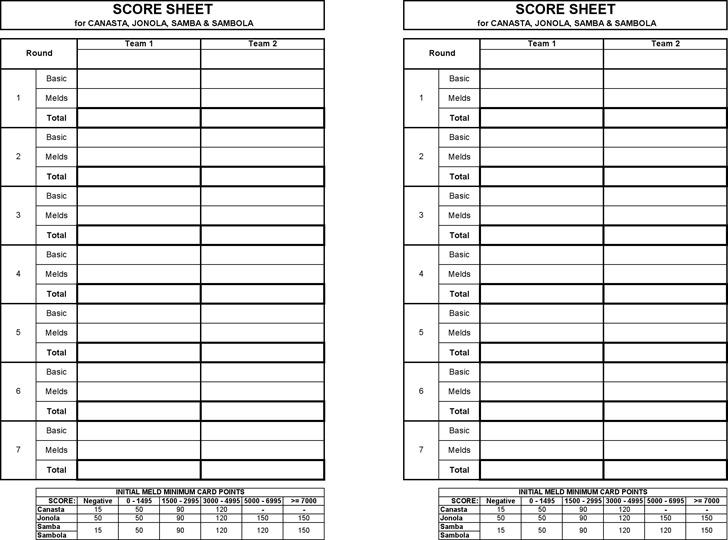 Canasta Score Sheet