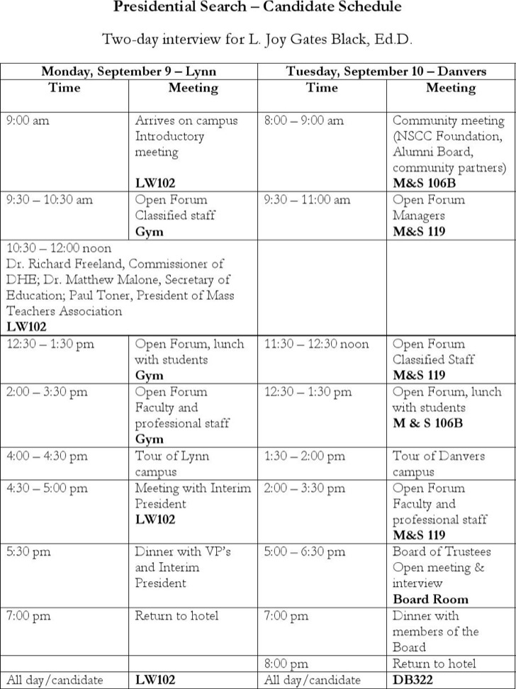 Candidate Interview Schedule Template