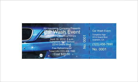 Car Wash Event Ticket Print Online