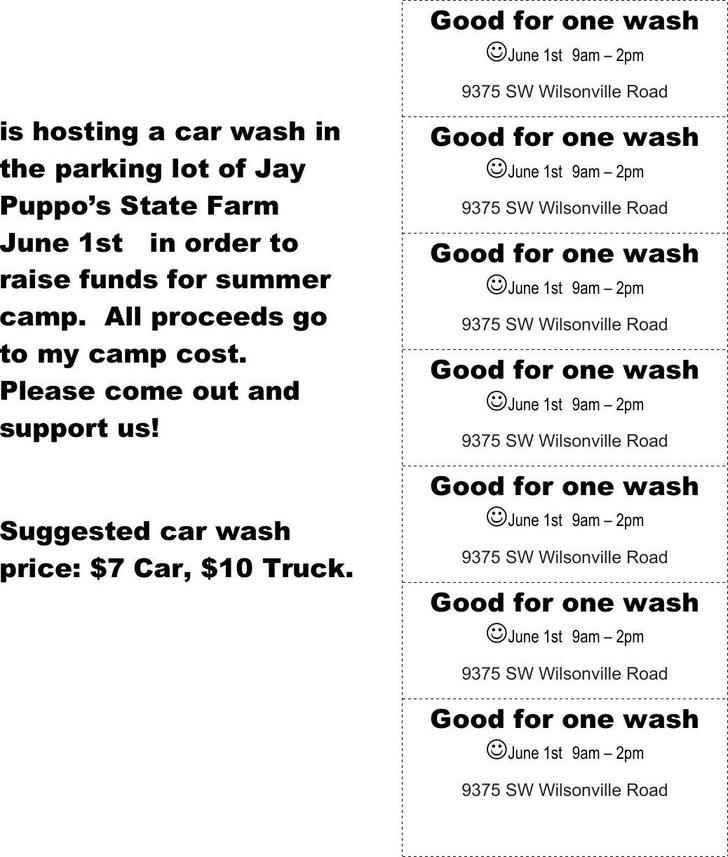 Car Wash Printable Ticket Free Word Doc