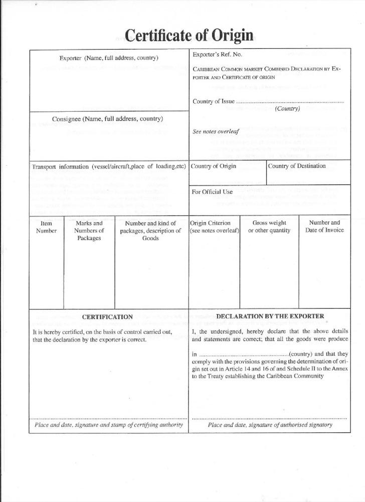 Caricom Certificate Of Origin Template