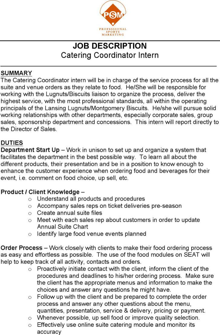 Catering Coordinator Resume