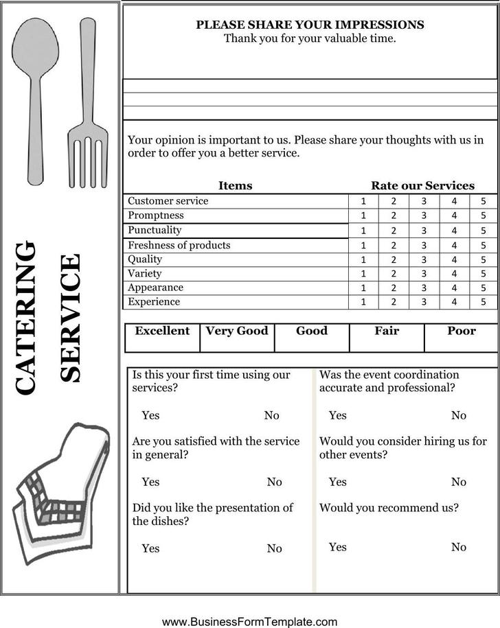 Catering Service Comment Card Doc Format Template