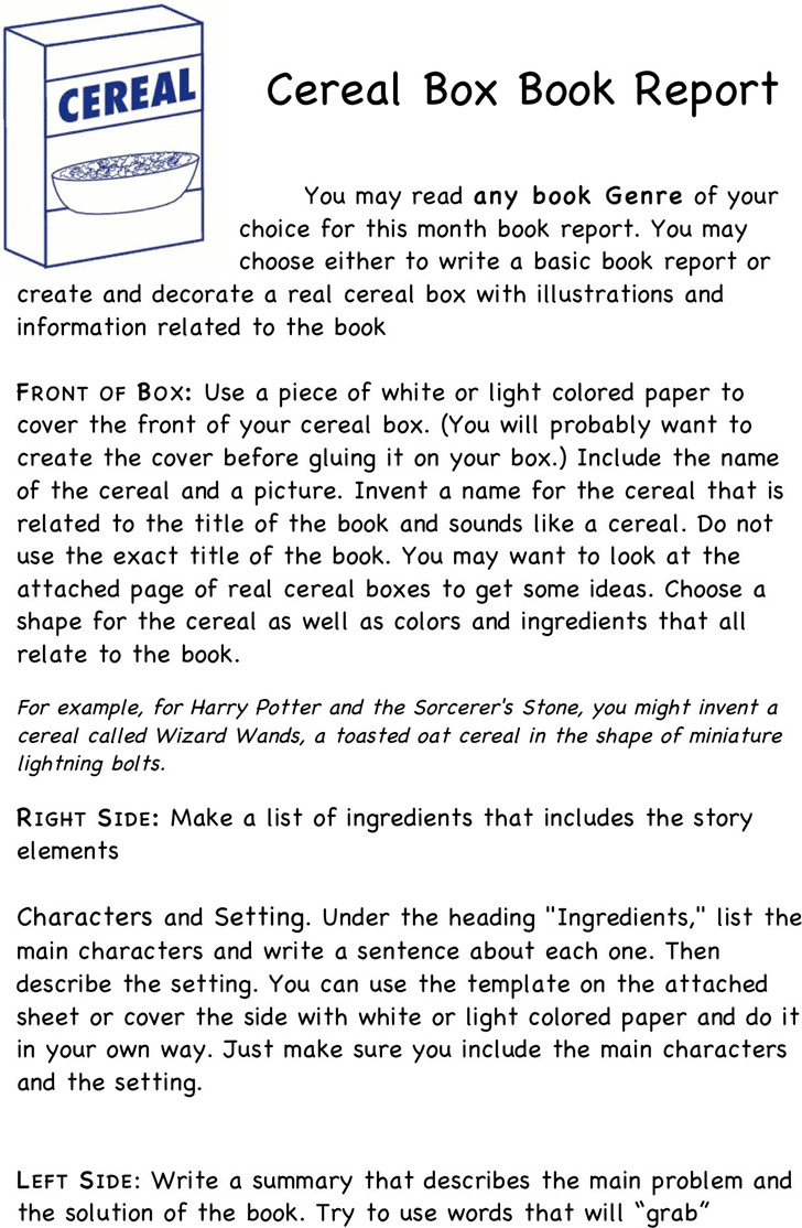 Cereal Box Book Report Template 2