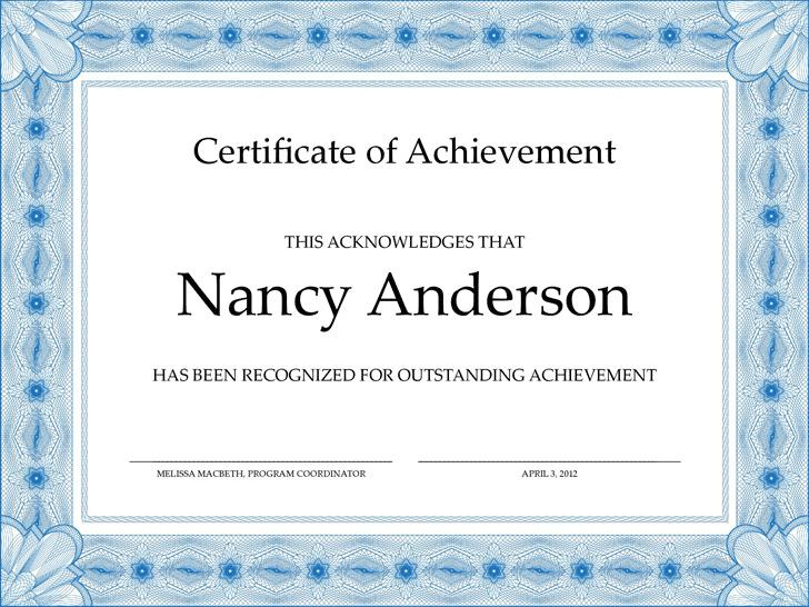 Certificate of Achievement 3