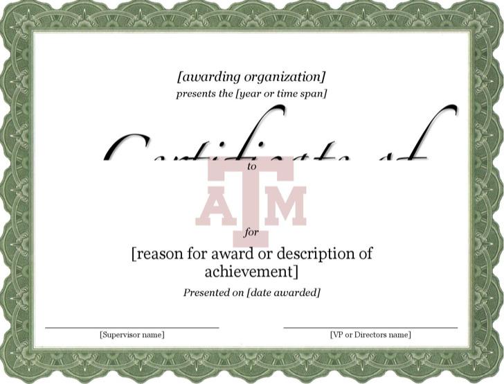 Certificate Of Achievement In Running