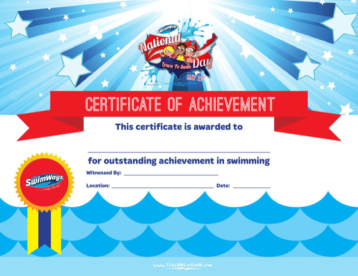 Certificate Of Achievement In Swimming