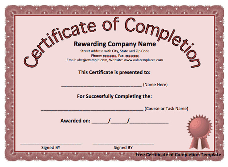 Certificate of Completion Template 3