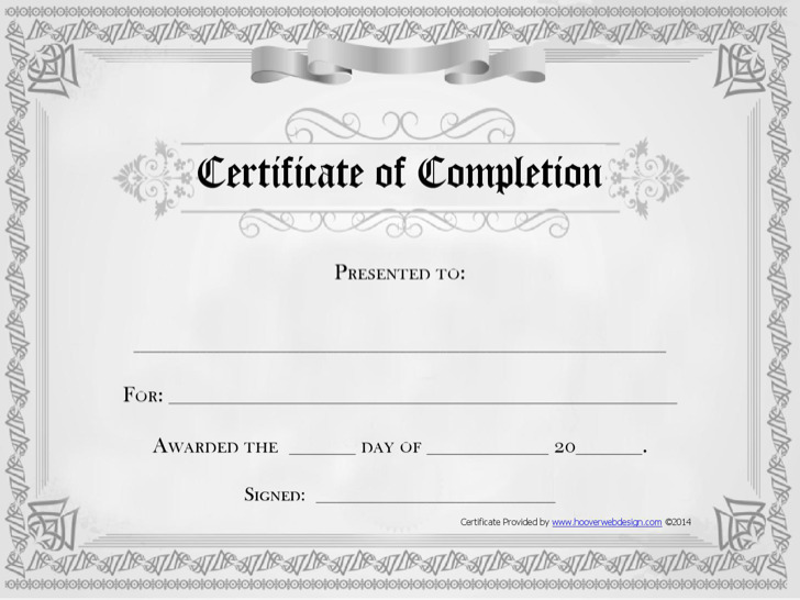20 Completion Certificate Template Free Download