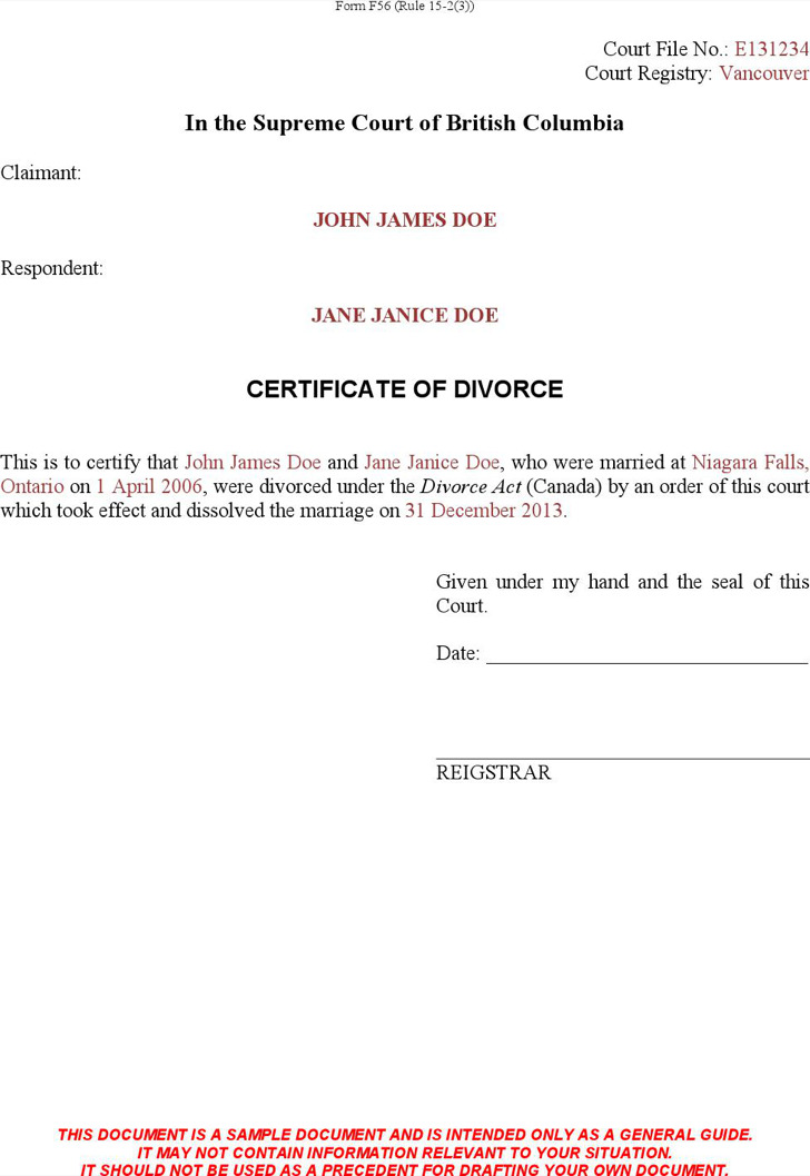 Certificate Of Divorce Template
