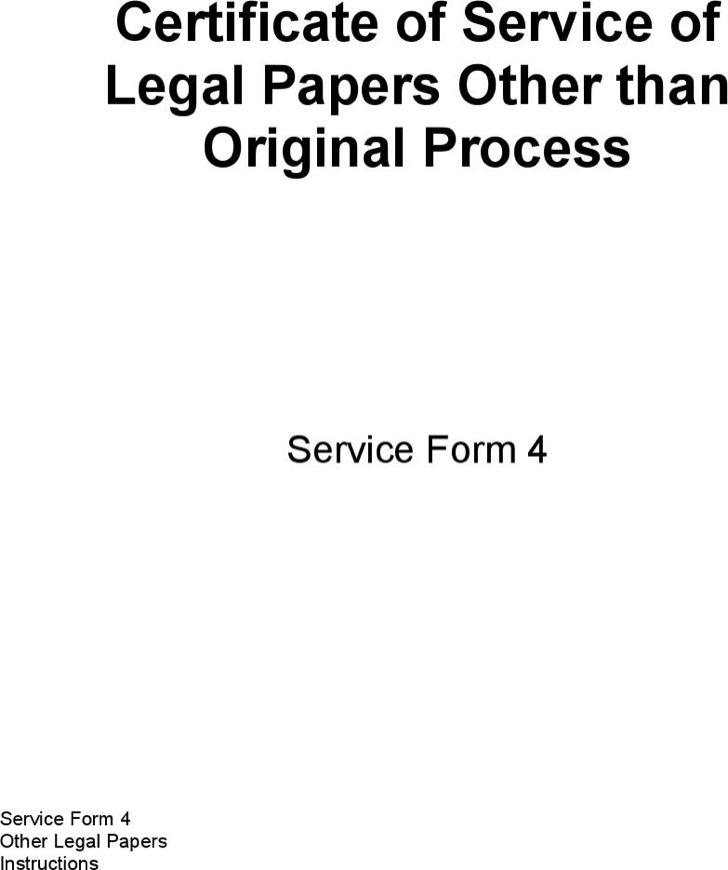 Certificate Of Legal Service Template