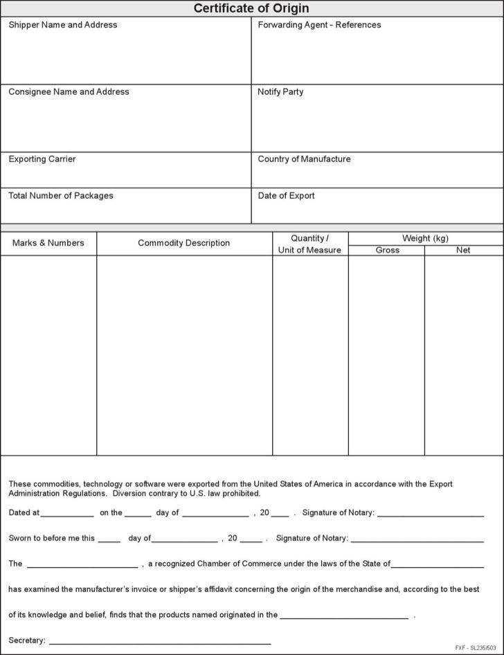 Certificate Of Origin Template Free Pdf Download