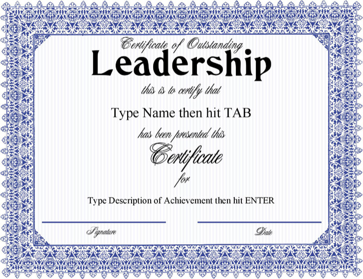 Certificate Of Outstanding Leadership With A Formal Blue Frame Design