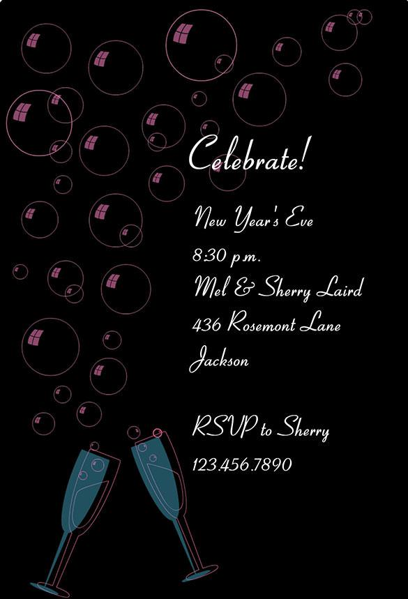 Champange Printable New Year Invitation Template Free Download
