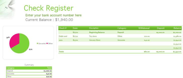 Check Register Excel