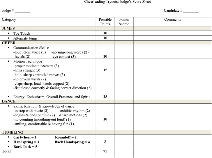 Beautiful Cheerleading Tryouts: Judgeu0027s Score Sheet