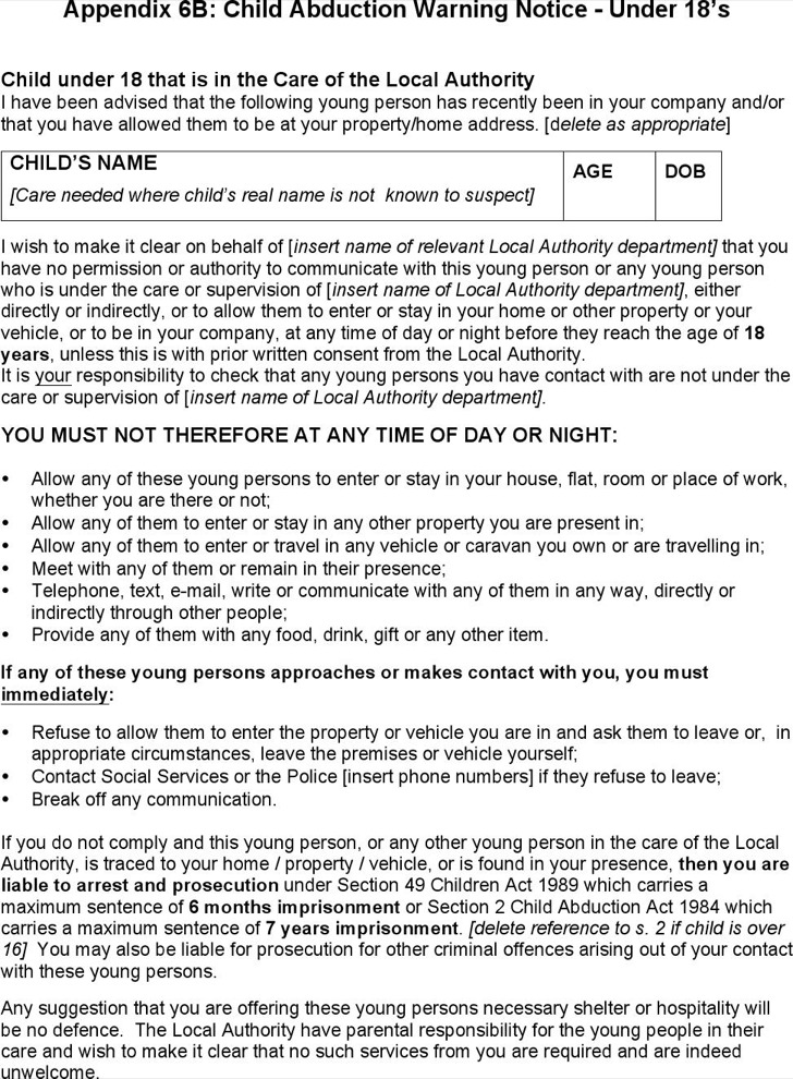 Child Abduction Warning Notice Template