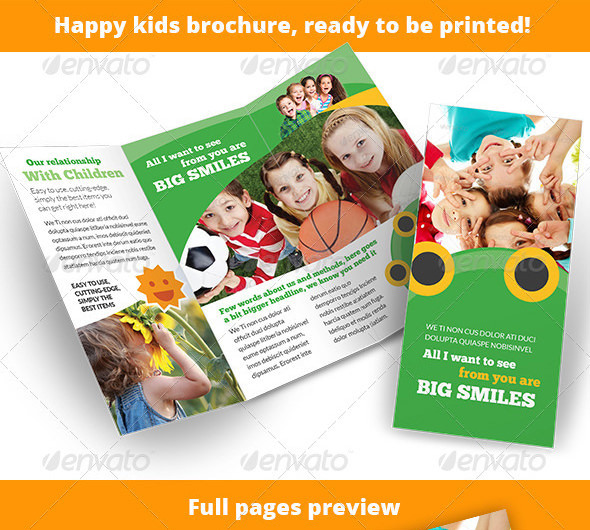 Child Care - Happy Kids 3-Fold Brochure