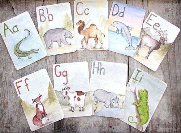Children's Educational Animal Alphabet Flash Card