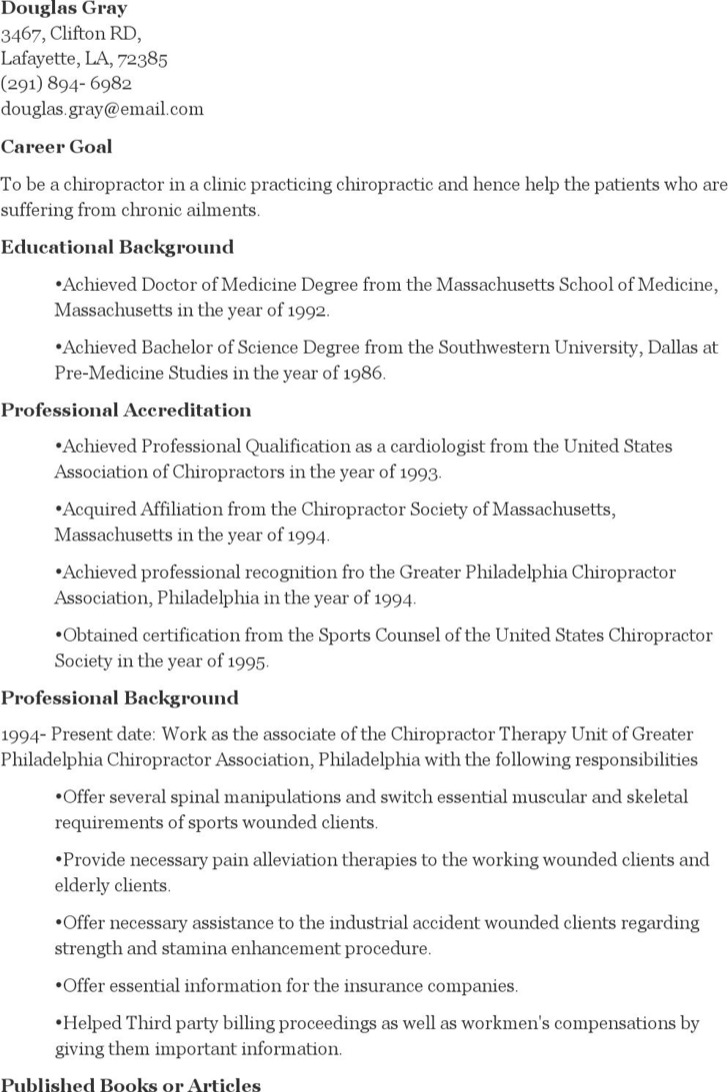 Chiropractic Student Resume
