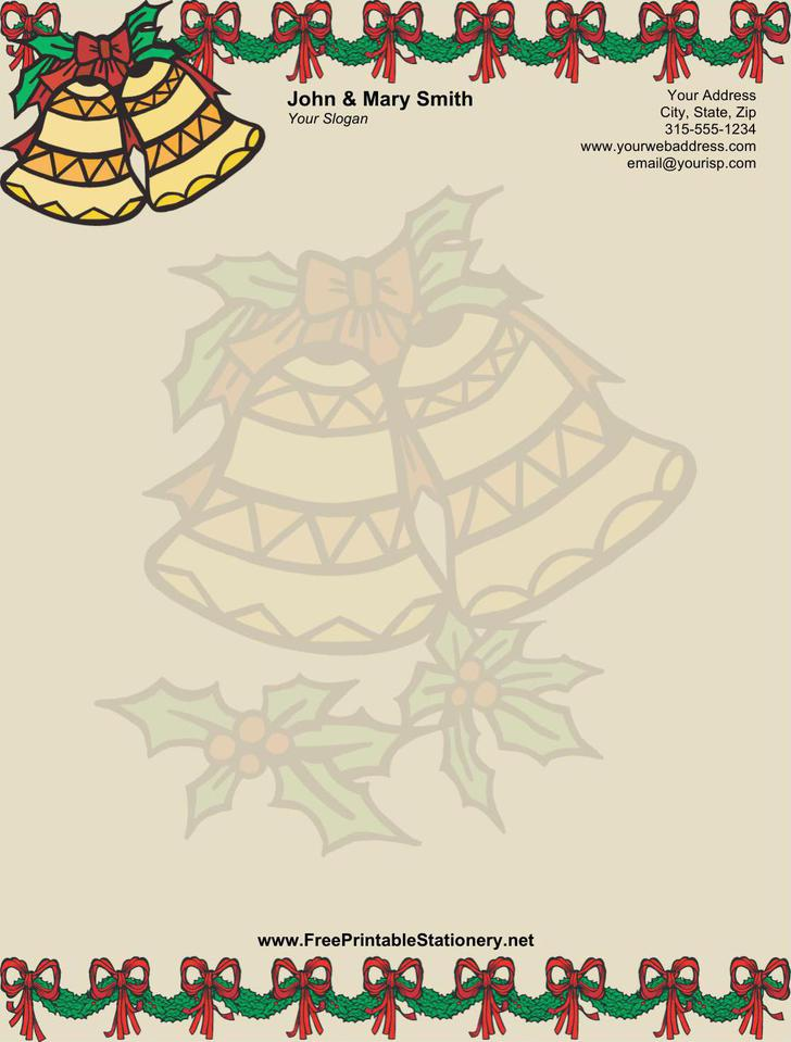 Christmas Bells Stationery Design in MS Word