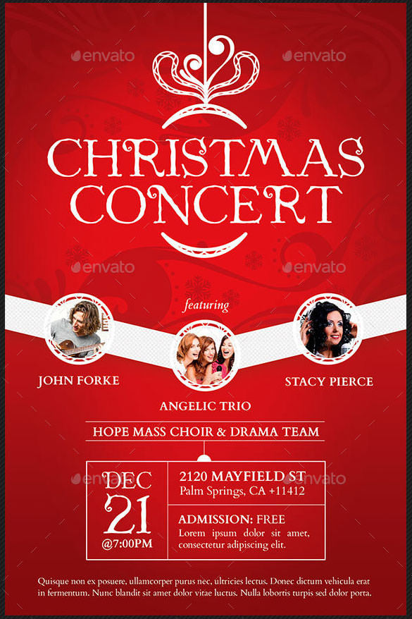 Christmas Concert Broucher and Poster Template PSD Design