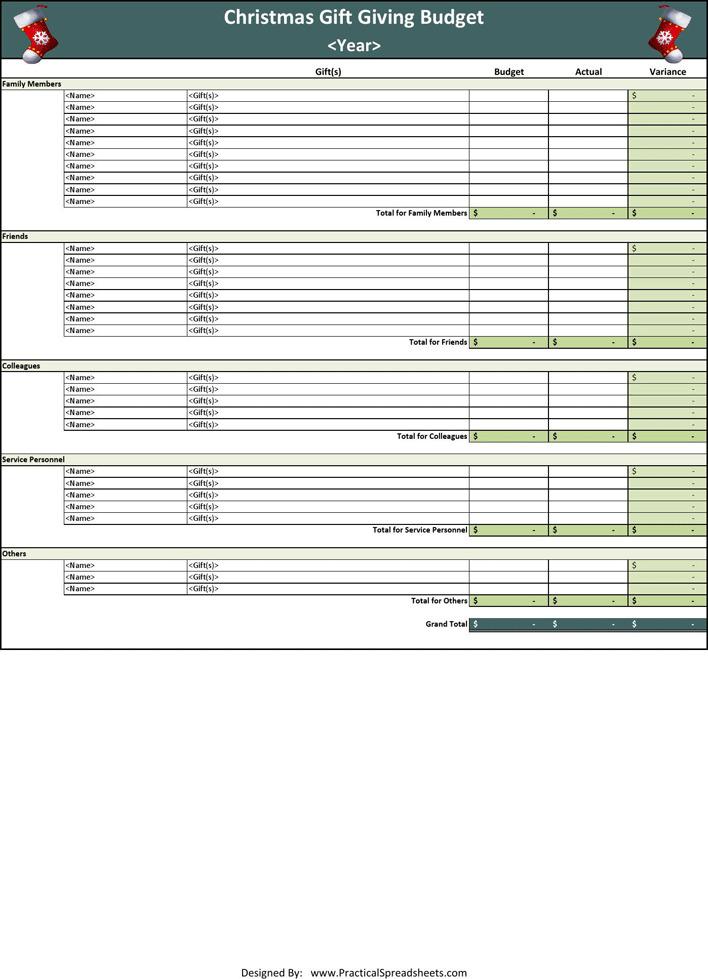Christmas Gift Budget Worksheet