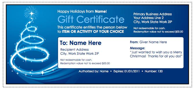 Christmas Gift Certificate Template Free