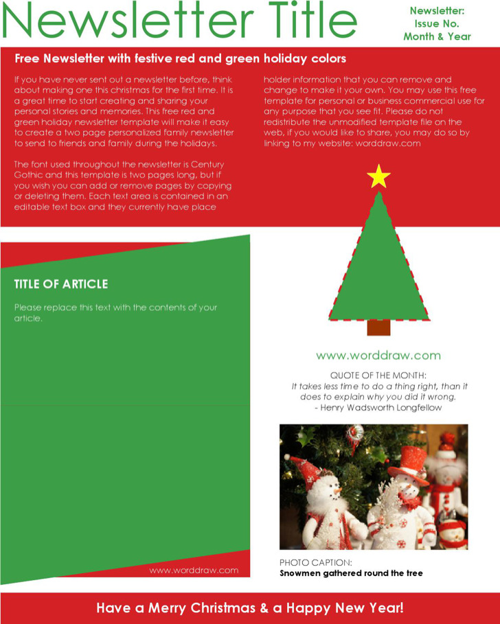 Christmas Holiday Newsletter Template Download